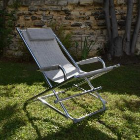 CHAISE LONGUE ALU GRIS CHINE