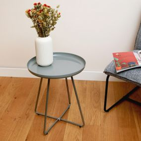 TABLE D APPOINT PLATEAU ROND GLOSSY GRIS