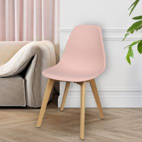 CHAISE SCANDINAVE COQUE PP ROSE POUDRE