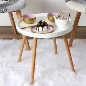 TABLE PLATEAU RONDE BLANCHE