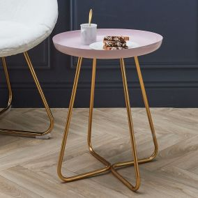 TABLE D APPOINT PLATEAU ROND GLOSSY ROSE