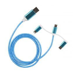 CABLE TRIPLE SORTIES LUMINEUX BLEU