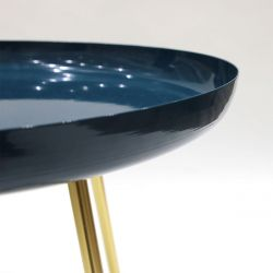 TABLE D APPOINT PLATEAU ROND GLOSSY BLEU